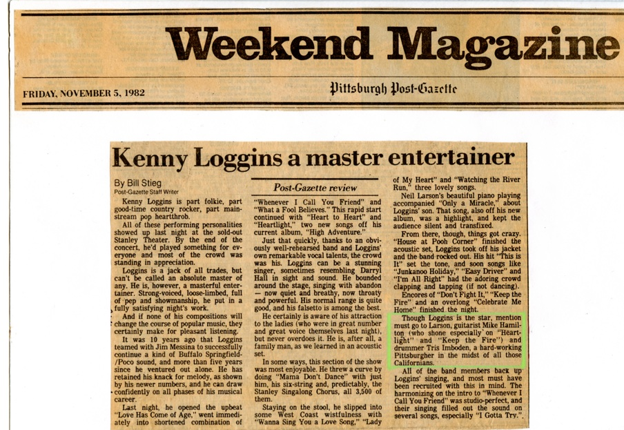 "Pittsburgh Post-Gazette • Kenny Loggins concert review • Mike Hamilton Guitar on ""Heartlight"" & ""Keep The Fire"""